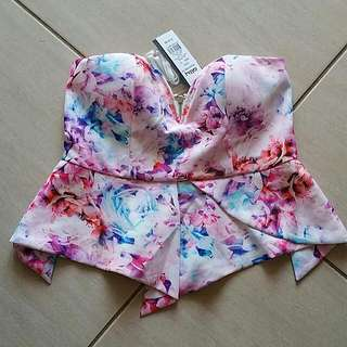 Ally Size 12 Floral Bandeau Peplum Top. Strapless. Comes With Straps.