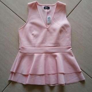Dotti Size Medium Baby Pink Peplum Top.