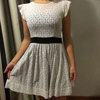 White Lace Cut Out Back Dress
