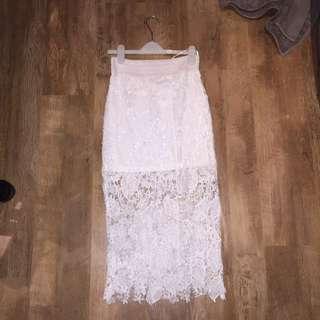 3/4 Length White Lace Skirt