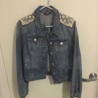Denim Jacket with Lace Detail