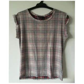 Size XS Plaid Sheer Top