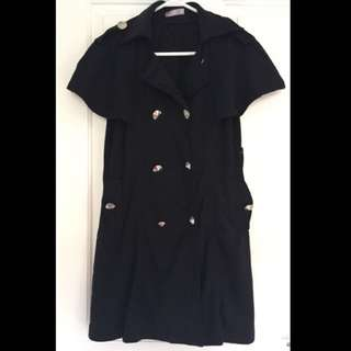 Black Sleeveless Jacket Size L 10-14 BNWOT