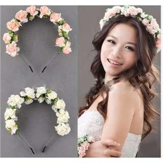 (全新)新娘伴娘頭花 花環花圈 頭飾髮箍