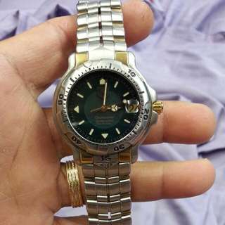 *repriced* tag hauer 2 tone mid size unisex jade colour dial automatic 18k solid gold lug watch