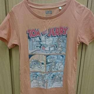 Uniqlo 橘色 湯姆貓與傑利短t