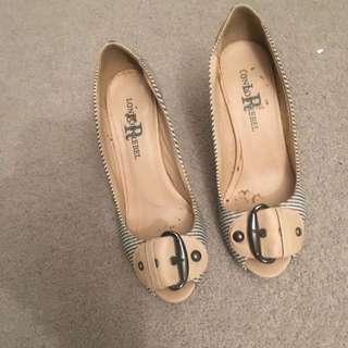 Black And Beige London Rebel Women's Open Toe Heels Stiletto Size 6
