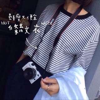 夏季出清折100✨[全新]夏款 圓領細條紋顯瘦短袖綿T