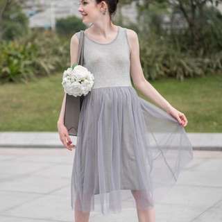 孕婦裙,灰色紗裙