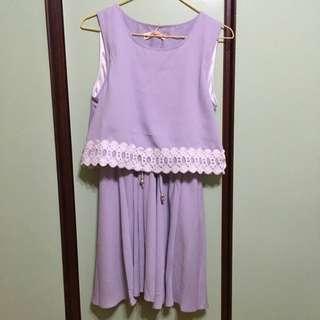 氣質蕾絲連身裙(淡紫)