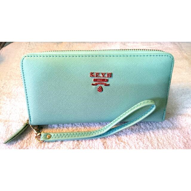 ✨氣質女用皮夾✨9.5成新✨藍綠色