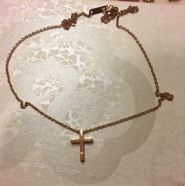 玫瑰金-十字架造型項鍊