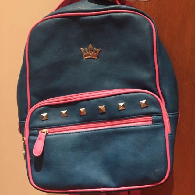 (全新)粉藍撞色配色卯釘皇冠後背包
