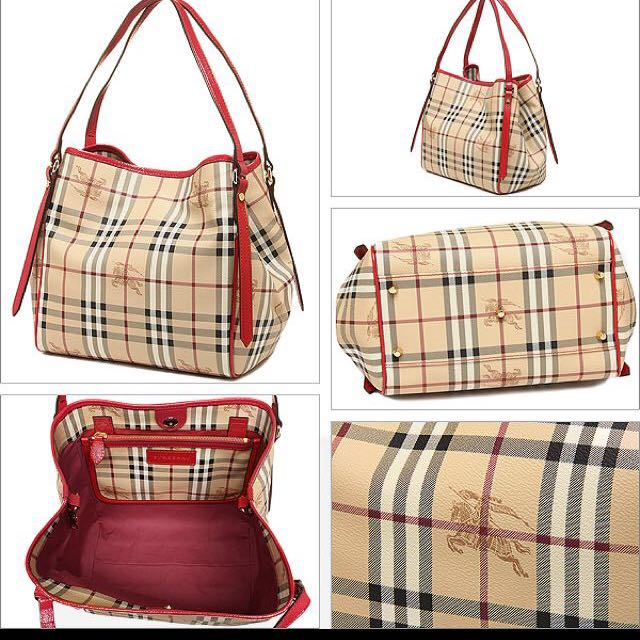 76c609e3fab4 Authentic Burberry Haymarket Canterbury Tote