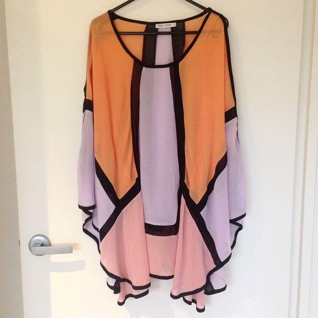 Colour Block Kimono Dress Size 8