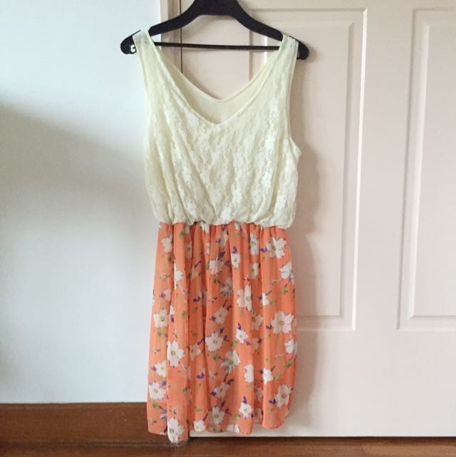 Cream and orange Floral Chiffon & Lace Dress