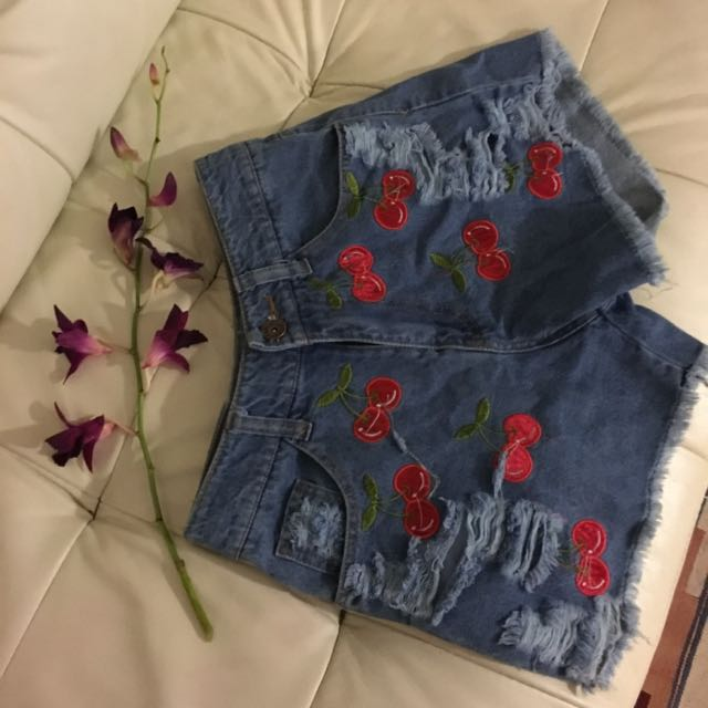 Denim Cherry High Waisted Shorts