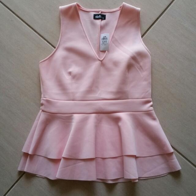 Dotti Size Medium Baby Pink Peplum Top.