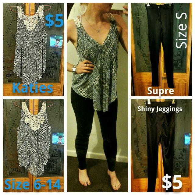 kaites 6-12 top and supre size s shiny jeggings
