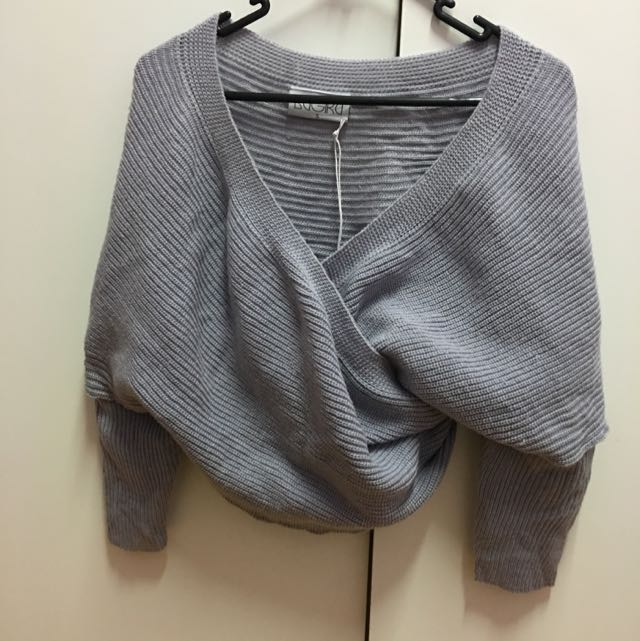 PENDING:Knit Off The Shoulder Grey Shawl Top