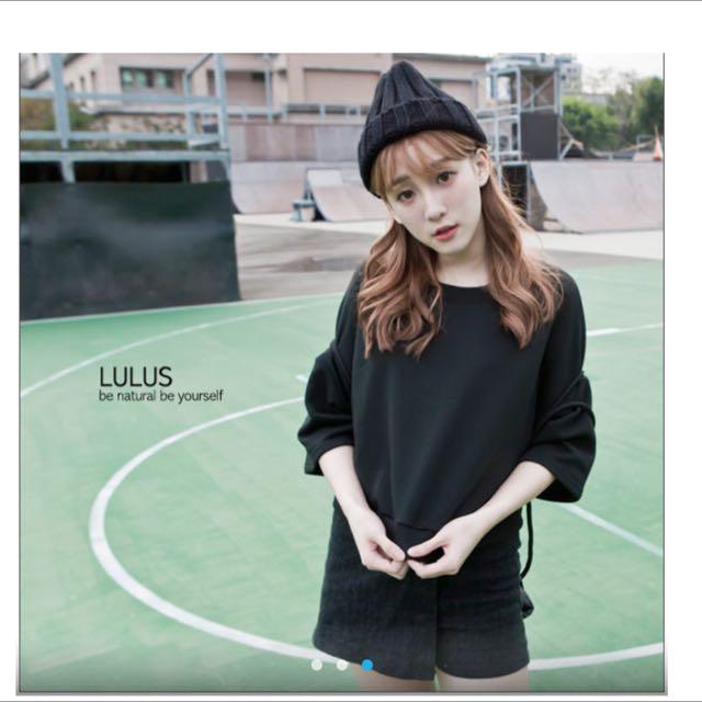 Lulus 韓製 羅紋邊衛衣布上衣 黑