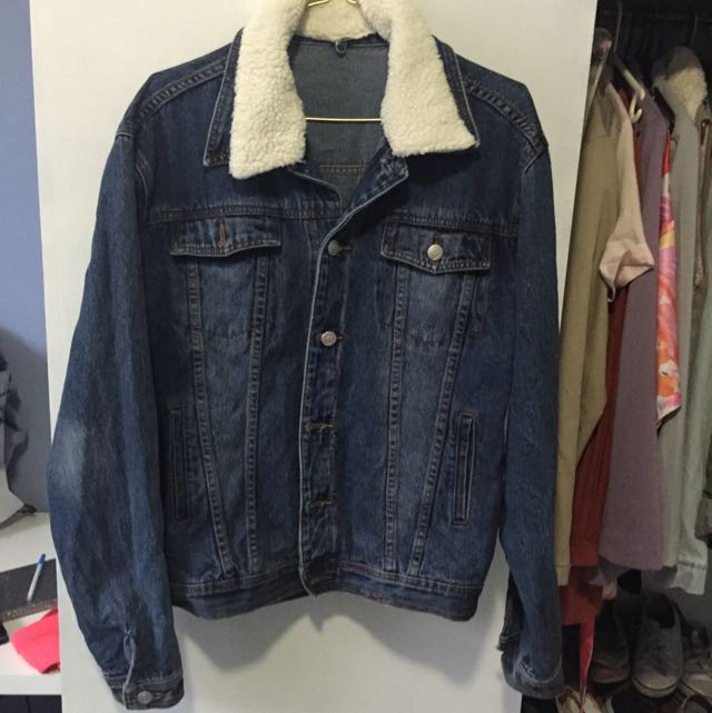 Oversized Denim Jacket With Wool Collar