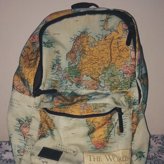 Typo world map backpack womens fashion bags wallets on carousell photo photo gumiabroncs Gallery