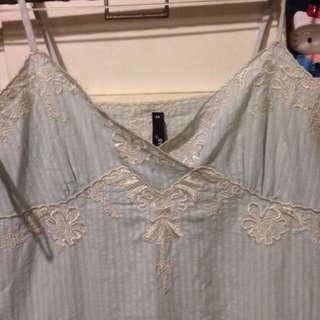 條紋蕾絲細肩帶洋裝