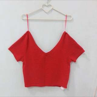 Cotton On Red Crop Tee