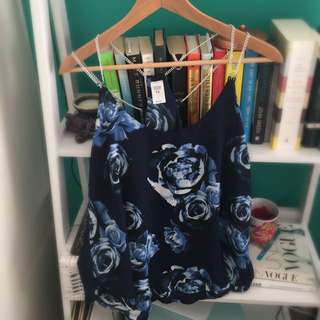 Navy/blue Floral Top