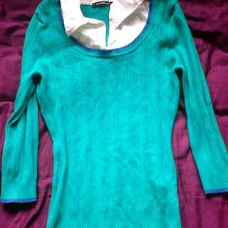 Green And White Knit Top