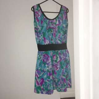 Purple, Blue And Green Dress