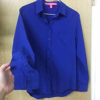 Mango 寶藍色 上班族首選 襯衫 S