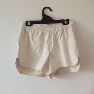 Size 10 White Leather Shorts