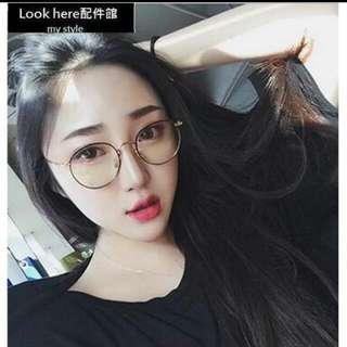Look here配件館:韓國手工金屬鏡框 阿拉蕾平光眼鏡 造型圓框鏡架 復古學院風眼鏡 大框 圓框 配度數近視造型眼鏡