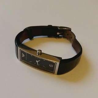 Emporium Armani Slim Black Leather Watch
