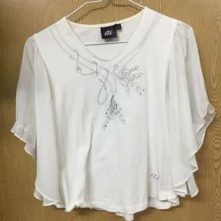ai 設計款 純棉水鑽 蝴蝶袖T-shirt 白 S