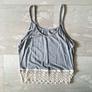 LIGHT GREY CROCHET SPAG TOP