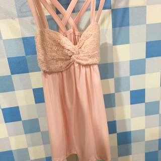 二手 粉色美背小洋裝