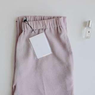 韓系。官網款 CD*G氣質清新粉紫色抽繩麻料鬆緊休閒長褲 / 棉麻