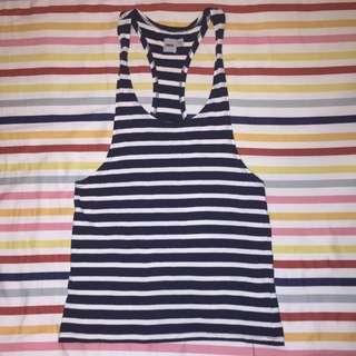 ASOS Navy stripe gym/fitness singlet