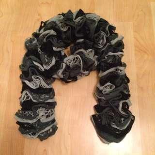 Black, Charcoal, Grey Ruffle Scarf ONE SIZE