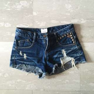 TUMBLR RIPPED FRAYED STUDDED LOW WAIST SHORTS