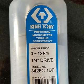 King Tony Precision Micrometer Torque Wrench 1/4 Drive