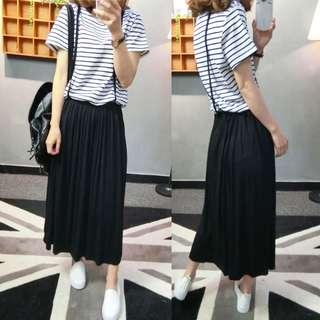 裙子/SuperC/假兩件式背帶裙 #039054