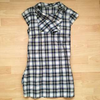 Blue Plaid Dress/ Shirt (size XS)