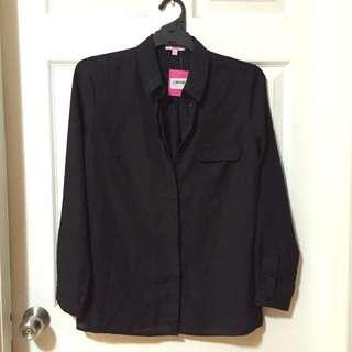 Long Sleeve Black Shirt Semi Sheer