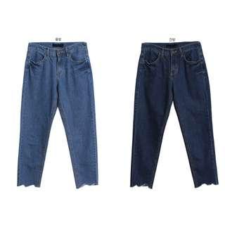 褲子/SuperC/毛邊直筒牛仔褲 長褲(兩色) #029044