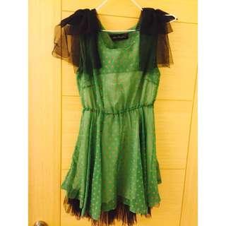 復古 綠色愛心洋裝👗