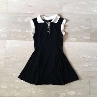 NAVY BLUE POLO BUTTON SKATER DRESS